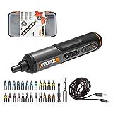 WORX Juego de atornillador inalámbrico WX240, 4 V, 1,5 Ah, ajuste de par de giro de 3 velocidades, luz LED, 5/4/2,5 N.m