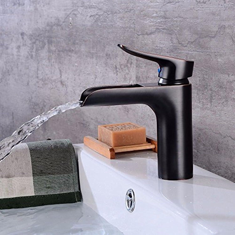Lvsede Bad Wasserhahn Design Küchenarmatur Niederdruck Schwarz Kupfer Wasserfall Heies Und Kaltes Wasser Keramik Ventil Einlochmontage Einhand H0808