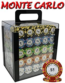 1000pcs 14g Monte Carlo Poker Club Poker Chips Set with Acrylic Case Custom Build