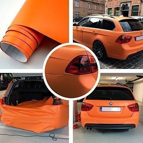 TipTopCarbon 8,55€/m² Matt Orange 152cm breit Blasenfrei Autofolie selbsklebend mit Luftkanäle 3D Flex Folie Auto