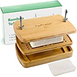 Tofu Press Bamboo, Tofu Presser, Easily Remove Water from Tofu for Better Texture & Flavor, Built in with Water Strainer & Drip Tray, Cheese Cloth & Tofu Recipes, BPA Free, E-co Friendly