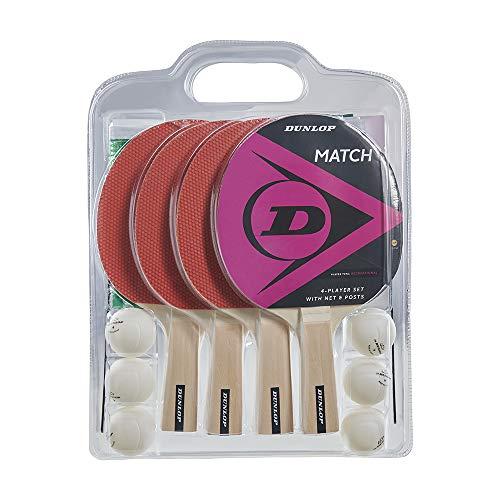 Dunlop Match - Set da ping pong con 4 racchette da ping pong, 4 racchette da ping pong bianche, rete con pali, ideale per bambini e adulti, per interni ed esterni