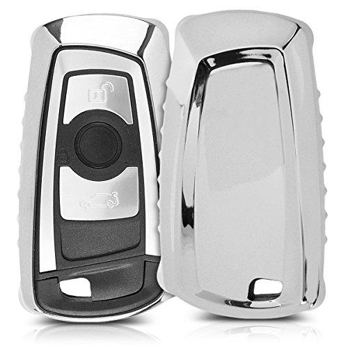 kwmobile Autoschlüssel Hülle kompatibel mit BMW 3-Tasten Funk Autoschlüssel (nur Keyless Go) - TPU Schutzhülle Schlüsselhülle Cover in Hochglanz Silber