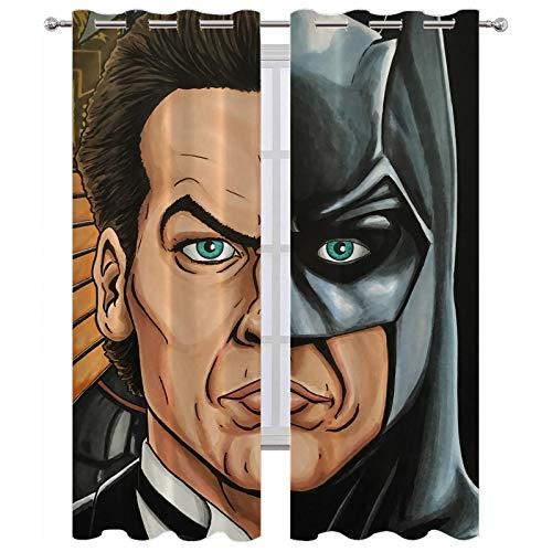SSKJTC Cortinas largas Batman Bruce Wayne Ventana Tratamientos Cortinas para dormitorio W55 x L72