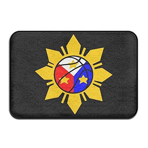 Sunny R Baloncesto Filipino Bandera de Filipinas Alfombra Decorativa Cocina Baño Alfombra Antideslizante Entrada Suave Alfombra de la Puerta Delantera 15.7×23.5 Pulgadas