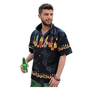 【Palmwave】 アロハシャツ 半袖シャツ 大きいサイズ メンズ ボトル柄 ブラック L