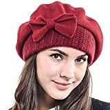 HISSHE Lady French Beret 100% Wool Beret Chic Beanie Winter Hat HY022 (Claret)