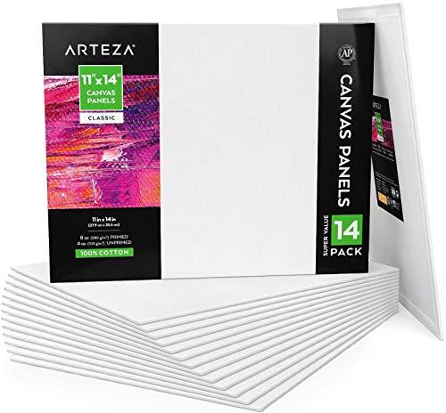 Arteza Paneles de lienzo para pintar cuadros | 28x35,5 cm | Pack de 14 | 100% algodón | Lienzos para óleo, acrílicos y medios húmedos| para artistas profesionales, aficionados y principiantes