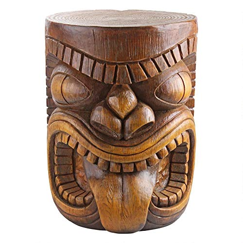 Design Toscano The Grande Tiki God Lono Tongue Side Table Statue, 20 Inch, Polyresin, Woodtone
