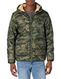 Amazon Essentials Men's Long-Sleeve Water-Resistant Sherpa-Lined Puffer Jacket, Green Camo, Large