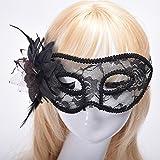 Dusenly Máscara de Encaje Sexy para Mujer, máscara Veneciana, Disfraz Veneciano, máscaras de Disfraces, Carnaval, Fiesta de Halloween, Baile de Gala, máscara de Disfraces (Negro)