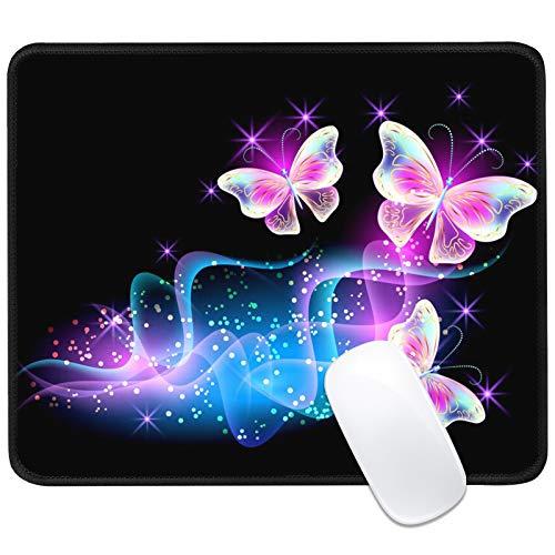 Gaming Mauspad, Schmetterling Mauspad, Wasserdicht und rutschfest Office Mauspad mit Genähten Kanten Mauspad für Büro und Zuhause, 25 X 30cm