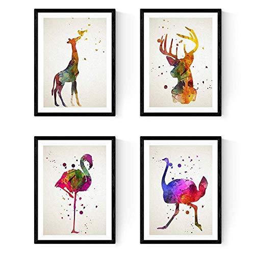 Nacnic Set de 4 láminas para enmarcar, Flamenco, Avestruz, Ciervo y Jirafa, Estilo Acuarela.Posters con imágenes de Animales, tamaño A3. Decoración de hogar. Papel 250 Gramos…