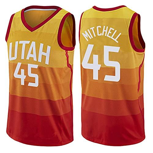 Herren Jersey NBA Jazz No. 45 Jersey Weste Jersey Casual Basketball Halbarm T-Shirts,L