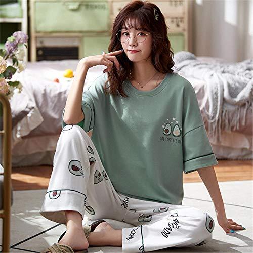 LSJSN Schlafanzug Süßes Avocado Besticktes Kurzarm-T-Shirt + Hose Damen Sommer Kleiner Frischer Pyjama Zweiteiliges Set-M