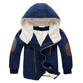 Gaorui Boys Winter Hooded Down Coat Jacket Thick Wool Inside Kids Warm Faux Fur Outerwear Coat Navy