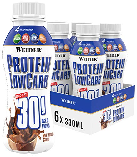 Weider Protein Low Carb Shake Ready to Drink 30 g, Schokolade, Eiweiß aus Whey + Casein, 6er Pack (6x330 ml)