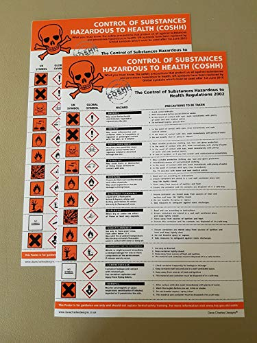Pack of 2 COSHH STICKERS (200mm x 300mm) Self Adhesive Vinyl The clearest Cosh Cupboard Safety Sign. Health and safety signs