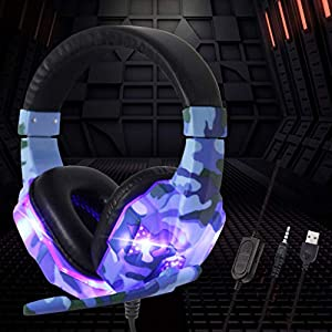 Fine Touch Comfortable Wearing Gaming Headset, ChainSee 3.55mm & USB Dual Plugs Headphone Compatible with Various Gaming…