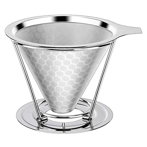 ceuao Kaffeefilter Wiederverwendbar, Permanenter Kaffee filter Edelstahl mit abnehmbarem Ständer, Papierloser Kaffeefilter zur Herstellung von manuellem Kaffee, Dauerfilter Kaffeefilter größe 4