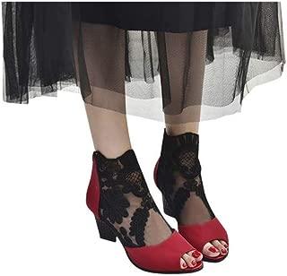 Limsea Women Mesh Zip Bootie Slip On Ankle Stacked Block Heel Open Peep Toe Lace Party Singel Shoes