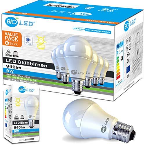 Bioled 9W, 6er Pack, 940lm (Ersetzt 75W), Warmweiß 2700K, E27 LED Lampe, LED Glühlampe, LED Birne, E27 LED Leuchtmittel, E27 LED Licht, E27 LED Beleuchtung, Flimmerfrei