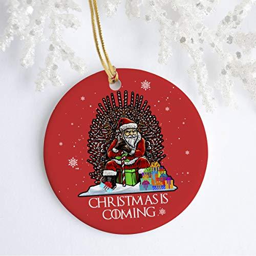 Lplpol Adorno navideño de Navidad 2020 de 7,6 cm, adorno navideño de Papá Noel, trono de bastón de caramelo de Papá Noel, adorno divertido para árbol de Navidad