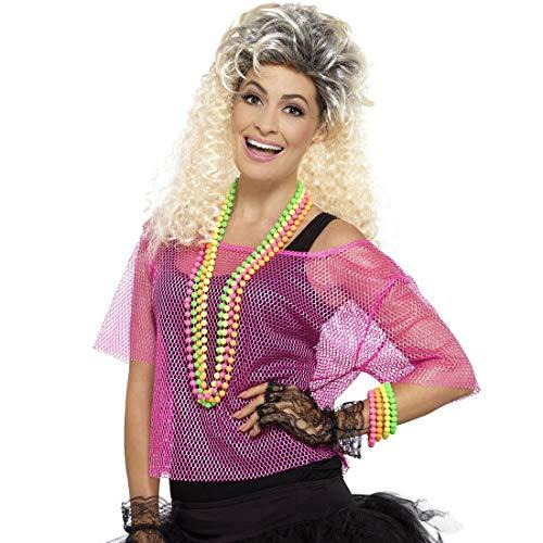 NET TOYS Cooles 80er Jahre Netz-Shirt - Pink M (38/40) - Attraktives Damen-Kostüm-Zubehör Fischnetz-Oberteil - Wie geschaffen für Mottoparty & Karneval