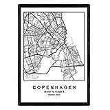 Nacnic Drucken Kopenhagen Stadtplan skandinavischen Stil in
