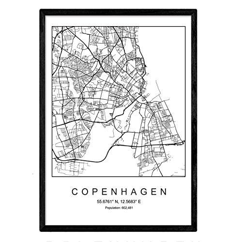 Drucken Kopenhagen Stadtplan skandinavischen Stil in schwarz und weiß. A3 Größe Plakat Das bedruckte Papier Keine 250 gr. Gemälde, Drucke und Poster für Wohnzimmer und Schlafzimmer