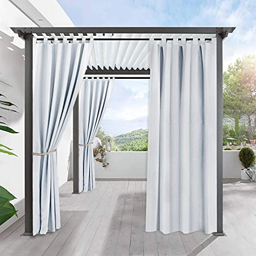 RYB HOME Outdoor Waterproof Curtain - Outdoor Deor Patio Heavy Duty Top Tab Light Block for Cabana Corridor Garden Sun Room, 1 Panel, 52 inches Wide x 108-inches Long, Greyish White