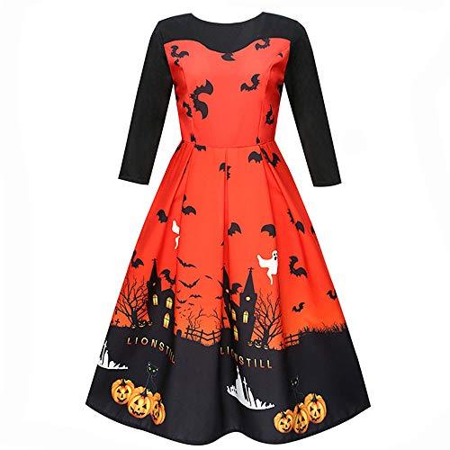 Vintage Kleid V Ausschnitt Damen Elegante Kleider Damenkleider mit Schläger Knielang Vintage 3/4 Arm Langarm Abend Prom Swing Dress Soft und...