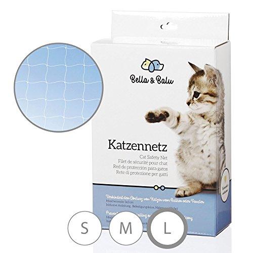 Bella & Balu Rete protettiva per gatti (trasparente | 10x4m) con tasselli, ganci, corda fissaggio e istruzioni di montaggio - Rete gatti balcone, terrazzo, finestra e giardino