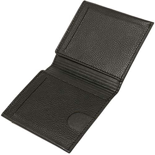 BLUE SINCERE 本革 マネークリップ カードケース 薄型0.5cm 最大6枚収納 メンズ 財布 二つ折り MC1-B×B