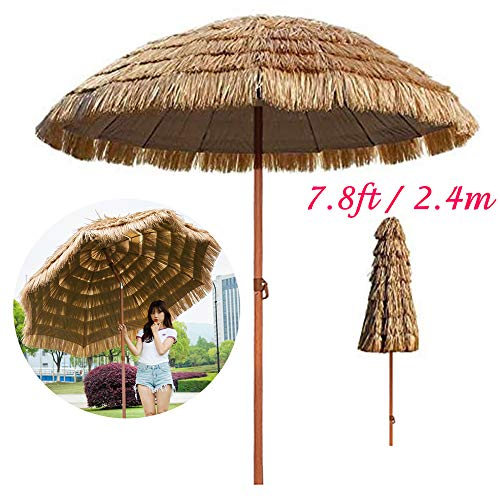 Vicareer Ombrellone da Patio in Paglia 240 Cm - Inclinare L'ombrello di Spiaggia Tropicale Hawaiano con Colore Naturale, Ombrellone da Festa per Ombrellone da Esterno con 8 Manovelle