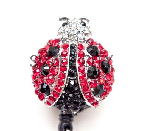Crystal Red Lady Bug Retractable Badge Reel/ID Badge Holder