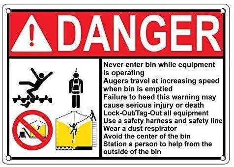DKISEE Señal de seguridad de metal de aluminio con diseño de cubo de basura de peligro, 20,3 x 30,5 cm