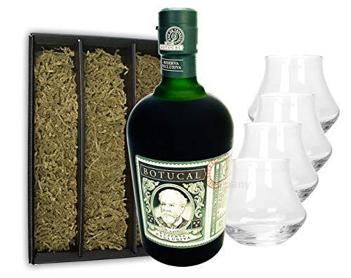 Botucal Reserva Exclusiva Rum mit 4 Botucal Tumbler Gläser mit Geschenkverpackung 0,70l (40% Vol) Ron de Venezuela Glas Longdrinkglas - Set - [Enthält Sulfite]
