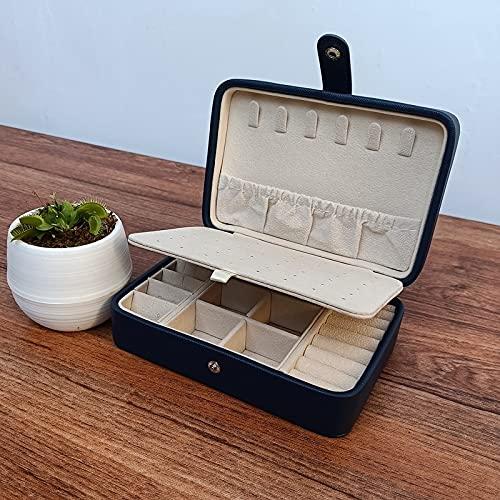 GYJYEG Caja de joyería portátil de Cuero Doble Pendientes Simples Anillo Joyería de Anillo El ataúd Puede sostener Pendientes Jewelry Box (Color : Pale Pinkish Gray, tamaño : Small)
