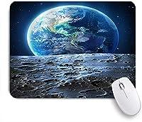 NINEHASA 可愛いマウスパッド 遠方の惑星系の眺め月面からの青い地球の眺め ノンスリップゴムバッキングコンピューターマウスパッドノートブックマウスマット