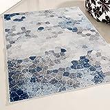 Mynes Home UK Tapis de Salon à Poils Doux denses Design géométrique Moderne Bleu, Polypropylène, Bleu, 120 x 170 cm