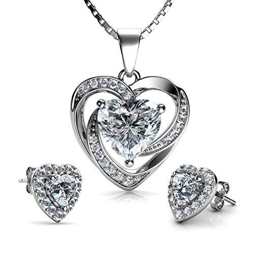 DEPHINI - Parure di collana e orecchini a cuore bianco - argento Sterling 925 - orecchini con cristallo e pietra portafortuna - Set di gioielli da donna - zirconia cubica
