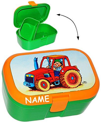 alles-meine.de GmbH Lunchbox / Brotdose -  Traktor & Bauernhof  - incl. Namen - mit extra Einsatz / herausnehmbaren Fach - Brotbüchse Küche Essen - Traktoren / Landmaschine - K..