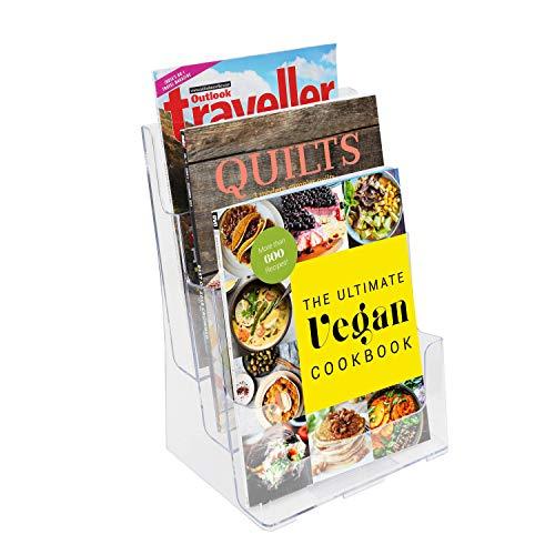 A4 Literatuur houder - 3 vaks (B23 x D15 x H32) Transparant Acryl Brochure Houder met Verwijderbare Scheider – Desktop en Muur Montage Display Standaard Voor Pamfletten en Magazines