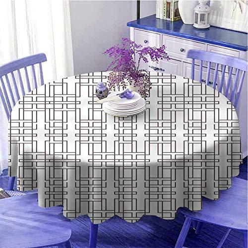 Tovaglia rotonda geometrica da cucina con disegno astratto moderno artistico a righe con motivi ispirati al labirinto, uso quotidiano, diametro 109,2 cm, colore bianco ombrello