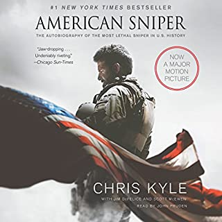 American Sniper     The Autobiography of the Most Lethal Sniper in U.S. Military History              Written by:                                                                                                                                 Chris Kyle,                                                                                        Scott McEwan,                                                                                        Jim DeFelice                               Narrated by:                                                                                                                                 John Pruden                      Length: 10 hrs and 18 mins     77 ratings     Overall 4.7