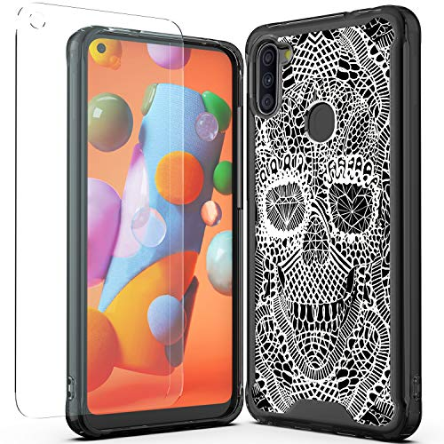 WZOKA Phone Case for Samsung Galaxy A11, Shockproof Aniti-Scratch Cover with Galaxy A11 Tempered Glass Screen Protector, Beautiful Design(Skull)