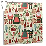 yuiytuo Cortina de la Ducha Christmas Gnomes Winter Party Shower Curtain with Hooks Shower Curtain for Bathroom Home Decor