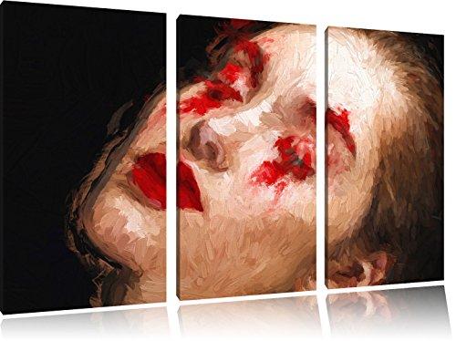 Frau mit roten Puder Pinsel Effekt 3-Teiler Leinwandbild 120x80 Bild auf Leinwand, riesige Bilder...
