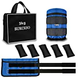 SUKCESO Adjustable Weight Ankle Weights Sets. Max 3kg (0.36-1.5kg Each). Durable Wrist Leg Weights for Men Women Kids Gym Fitness Exercise Running